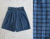 indigo overdyed 1980s plaid linen blend high waist shorts, m