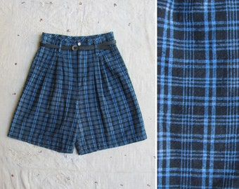 indigo overdyed 1980s plaid linen blend high waist shorts, m