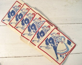 Set of 6 Vintage Linen Napkins with Folk Art Design