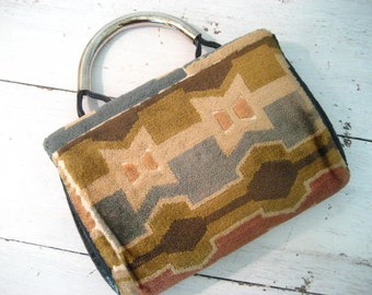 Vintage Chenille Carpet Bag Style Purse with Geometric Shapes