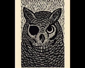Owl woodcut limited edition Arcanum Bestiarum bestiary print