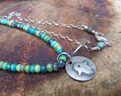African Turquoise and Sterling Silver Hamsa Necklace