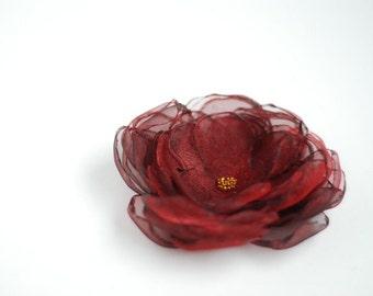 Handmade Flower brooch made of organza, 10cm