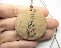 25% SALE OOAK Pyrography Pendant made out of wood veneer and felt, wood-burned with one of a kind original design - grass drawing