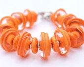 Chunky Orange Bracelet - Large Chunky Bracelet - Bold Bracelet - Glass Bead Bracelet -Statement Bracelet -Lampwork Bracelet -Summer Bracelet