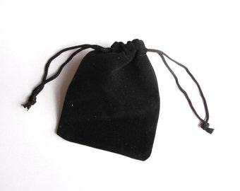 Drawstring Jewelry Pouch - Black Velvet - 3x4 - 10pcs