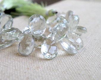 Outstanding Green Amethyst Prasiolite Gemstone Briolette Faceted TearDrop Pear Top Drilled 11 to 12mm 13 beads