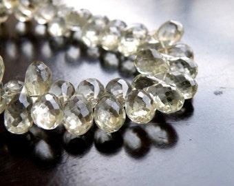 Green Amethyst Gemstone Briolette Prasiolite Faceted Teardrop Mint Sage 10mm 16 beads