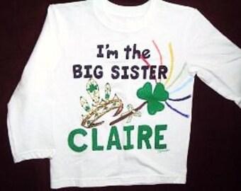 Big Sister Shirt, Irish Princess Big Sister, Big Sis, Sibling Shirt, Middle Sister Shirt, Irish Sister, Older Sister Shirt