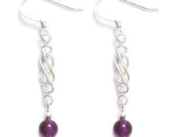 Sterling silver Celtic earrings, gemstones Amethyst, Black Onyx, Malachite, Rose Quartz, Garnet,