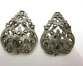 Sterling Marcasite Earrings - Screwback Art Nouveau