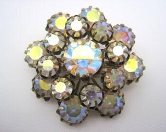 AB Rhinestone Brooch - Aurora Borealis 1950s Costume Jewelry