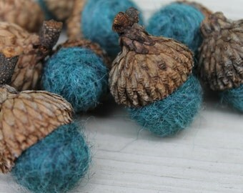 Wool Felted Acorns Wool Roving Thyme Blue Green Rustic Home Decor