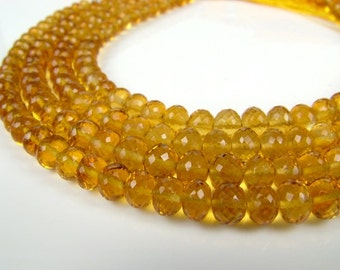"Citrine Rondelles, AAA, Faceted, 4-5.5mm - 8"" Strand (ET6176)"