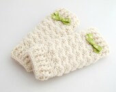 Crocheted Baby Leg Warmers. Ivory. Leggings.