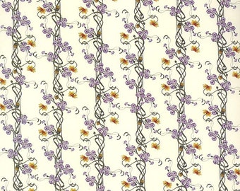 Italy Authentic Florentine Paper Purple Clematis Floral Print Paper Tassotti  T570