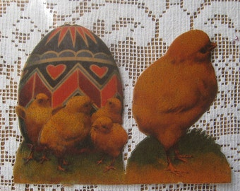 Vintage 1930s Germany Easter Scraps Chicks And Egg