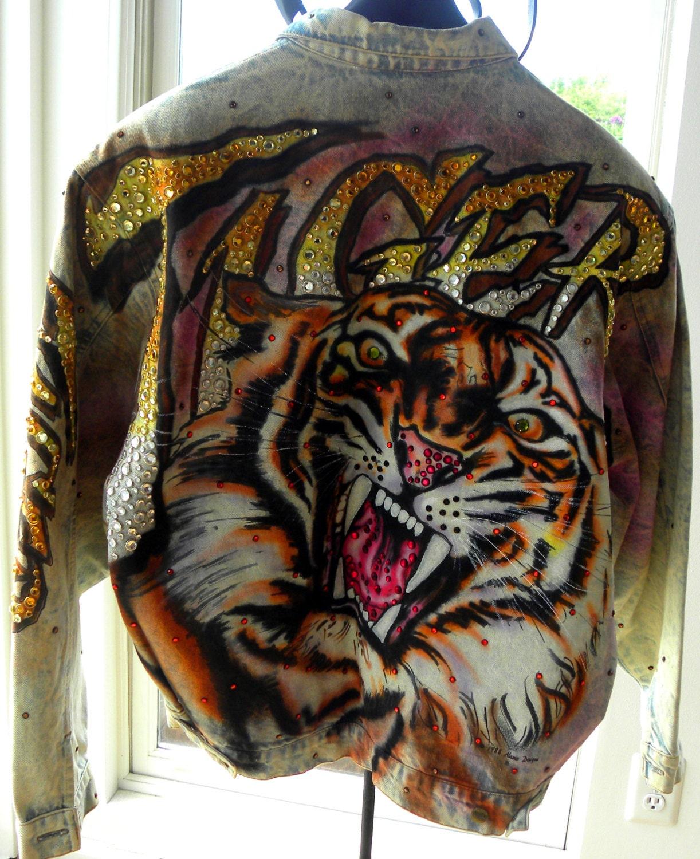 Tiger Designer Denim Jacket 1988 Signed Tony Alamo And Painted