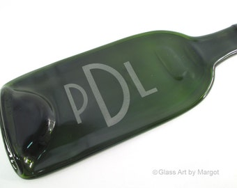 Personalized Cheese Board Melted Wine Bottle Serving Tray 3 Letter Monogrammed Recycled Glass
