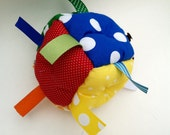 BEST SELLER - Baby Boy OR Girl Rainbow Soft Block Toy with Rattle Ribbon Sensory Jumble Ball