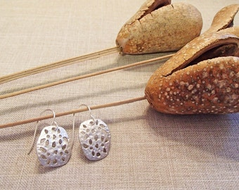 Matte Silver Funky Rectangle Earrings