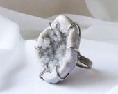 Statement Geode Ring, geode ring,  Large quartz crystal, Natural druzy ring, crystal ring, raw stone ring, ring size 8