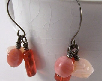 Think Pink.. Trio of pink glass beads & antiqued silver earrings