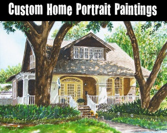 Custom Home Portrait Original Painting From Your Photo - Hand Sketched and Painted By Hand - Not Digital Computer Coloring - FREE SHIPPING!