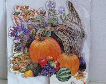 Thanksgiving Honeycomb Centerpiece -- Paper Ephemera - Cornucopia and Pumpkins