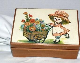 Childs Jewelry Box -Wood - - Vintage - Flocked Lining