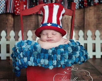 Custom Crochet Baby Uncle Sam Hat