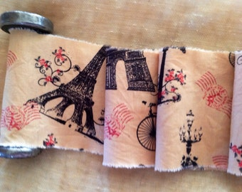 French Vintage Style Tea Dyed Hand Frayed Ribbon Trim   - Eiffel Tower - Arc de Triomphe - French Street Lamp