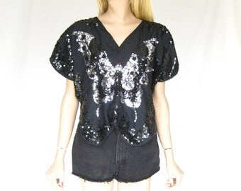 Vintage 80s Black Sequin Butterfly Blouse