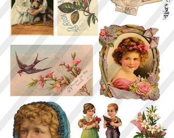Digital Collage Sheet  Vintage Advertising   Images (Sheet no. O166) Instant Download
