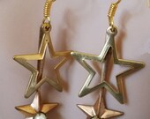 brass and copper star charms earrings vintage jewelry