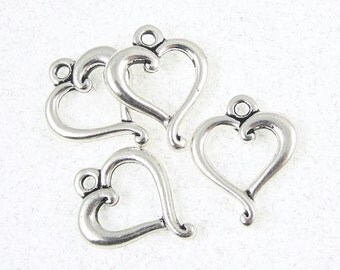 20 JUBILEE Heart Charms - Antique Silver Charms - TierraCast Tierra Cast Jubilee Ring Drops (P115)
