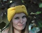 Honey Mustard Knit Headband, Women's Headband, Girls Headband, Vegan Headband, Knitted Headband Earwarmer, Seamless Turban Ear Warmer
