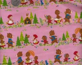 Japanese Cotton Fabric Goldilock and the Three Bears Nursery Tales 4 colors to choose
