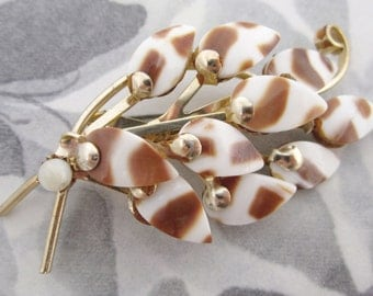 vintage spotted shell leaf brooch - j5250