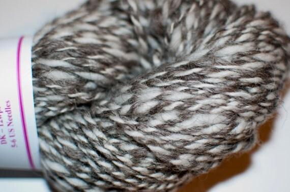 Handspun Grey and White Merino/Falkland Yarn 151g/164yds/DK