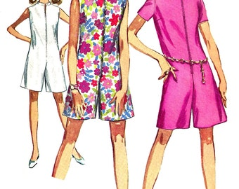 1960s Pantdress Pattern Simplicity Vintage Jiffy Front Zip Sewing Women's Misses Junior Petite Size 9 Bust 33 Inches