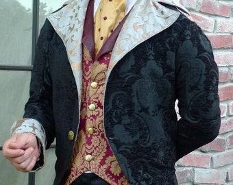 Black Tapestry Cloth and Sage Steampunk Frock Cutaway Swallowtail Wedding Jacket