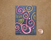 Love Swirls in Pink ACEO Original Watercolor Painting