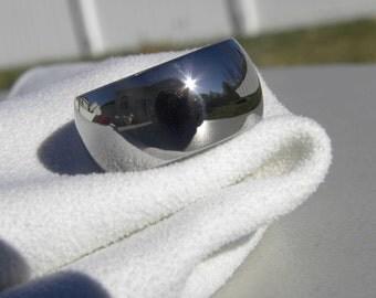 Titanium Ring Wide Dome Profile Wedding Band Polished