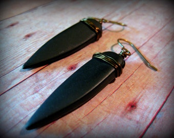 SPIKES BOUND - Matte Black Onyx Point earrings on natural brass ear wires Native Vogue Tribal Style Bohemian Native Tribal Fusion