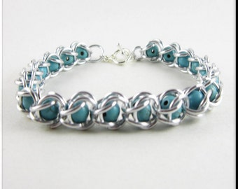Captured Bead Chain Maille Bracelet with Turquoise Gemstone Beads