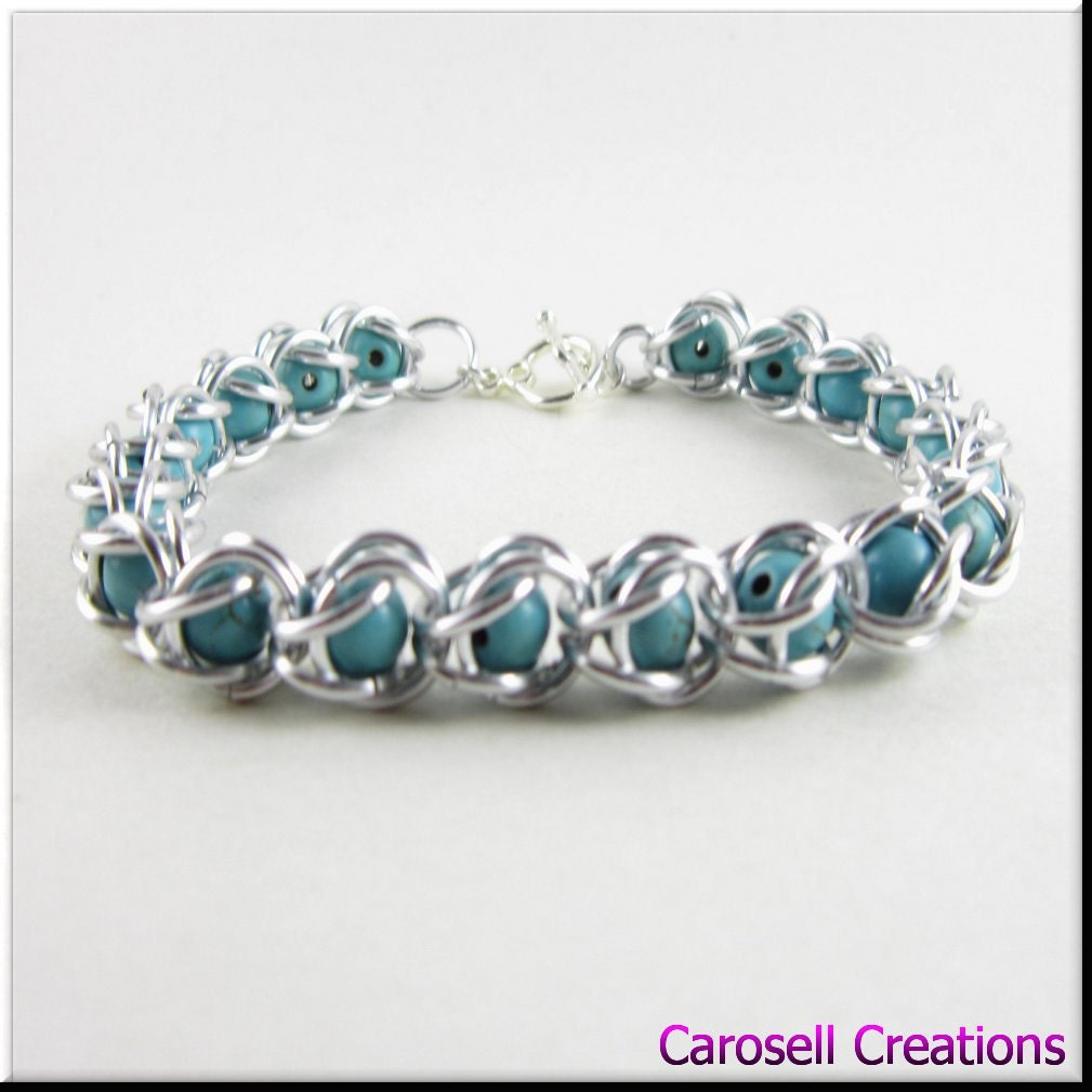 captured bead chain maille bracelet with turquoise gemstone