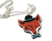Mr Fox Necklace, Red Fox Necklace, Woodland Jewelry, Wood Jewelry