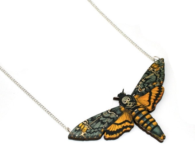 Death's Head Moth, Hawk Moth Necklace, Wood Pendant, Illustration Jewelry, Butterfly Necklace, Woodland, Animal Necklace, Wood Jewelry