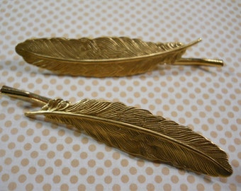 Feather Bobby Pins Gold Brass Hair Clips Nature Organic Woodland Accessory Feather Charms on Gold Metal Bobby Pins Golden Feather Clips
